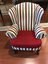 red and white striped fabric padded chair Toronto