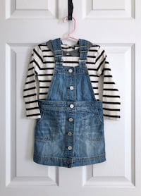 Gap toddler striped top and denim coverall dress