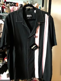 black and white button-up shirt Stafford, 22556