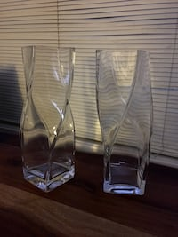 Pair of Heavy Glass 'Twisted' Vases Welland, L3C 4Z4