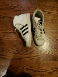pair of white-and-black Adidas Superstar Waldorf, 20603