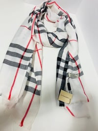 Original Women Scarf. Burberry! Made in Scotland! 100% Cashmere. White