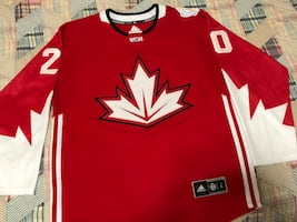Red and white tavares adidas hockey jersey