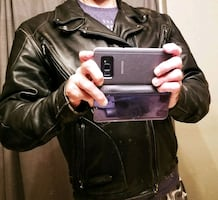 BLACK LEATHER BIKER JACKET by HARLEY DAVIDSON. size MEDIUM.