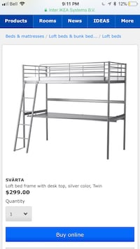Loft bed frame with desk, original price over $299 (it goes down every couple years) Langley, V3A 6M7