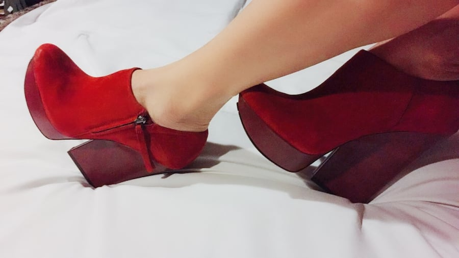 Red Italian Leather Runway Platform Booties 75ae33b5-2c20-4102-87b0-d37a55bb5589