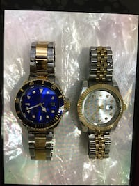Two round silver analog watches with link bracelets Norwalk, 90650