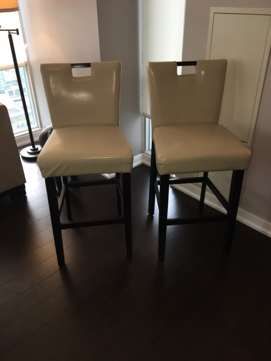 Two brown and beige armless chairs - Toronto