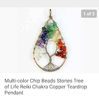multi-colored chip beads tree pendant