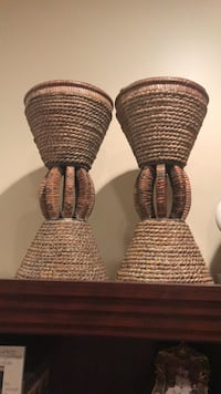 two brown wicker baskets with black wicker baskets Leesburg, 20175