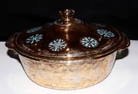 Vintage Georges Briard for Fire King. fire king 2 QT Atomic pattern and gold speckled casserole dish Calgary