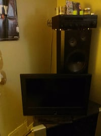 "Tv w/remote 50$ speakers both 40$ Fisher 12"" and receiver 10$"