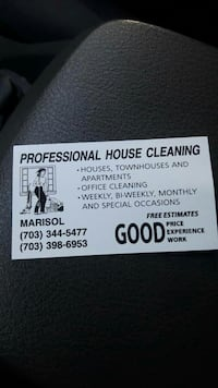 professional house cleaning business card
