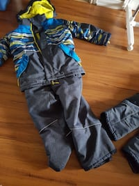 boy's black and blue hoodie and pants
