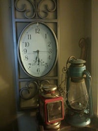 clock and two vintage lanterns