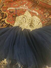 NAVY AND GOLD PAGEANT OR BAT MITZVAH DRESS  24 km