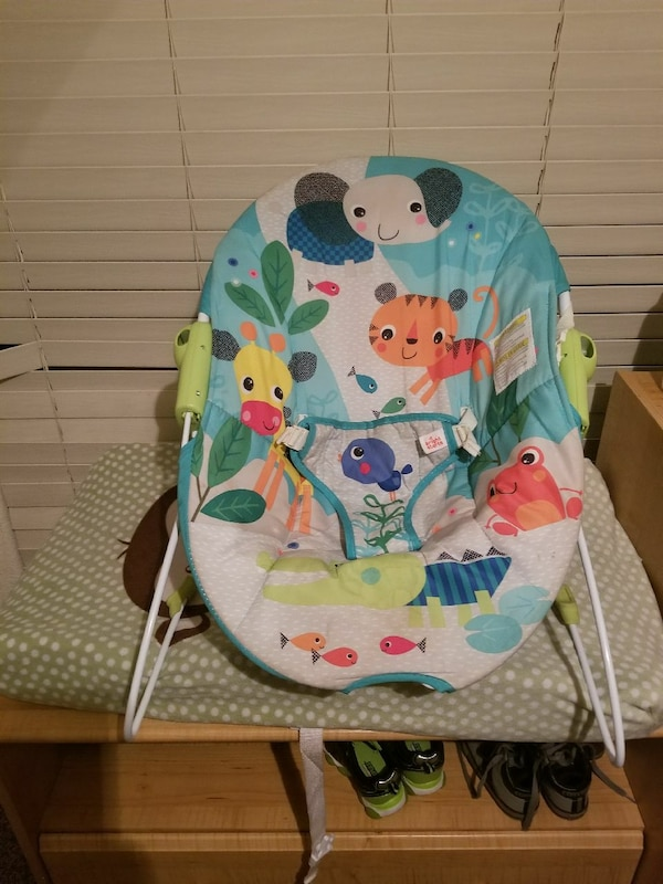 baby's white and multi-colored bouncer
