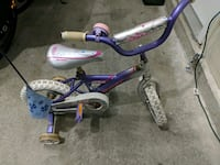 toddler's purple and white bicycle with training wheels Surrey, V3S