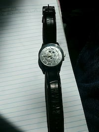 round silver chronograph watch with black leather strap Vancouver, 98682