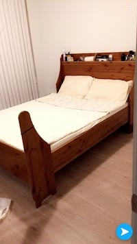 Wood double bed with new mattress  Vaughan