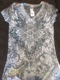 women's gray and white floral shirt Aurora, 80012