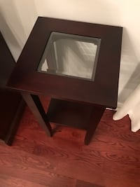 Brown wooden framed glass table/stand Markham, L6E 1C4