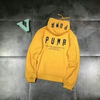 PUMA RETRO POUCH POCKET HOODIE IN ORANGE LARGE