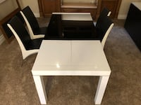 Dining set table for 6 and buffet contemporary white black
