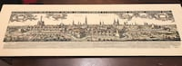 Brown wooden framed painting of houses Surrey, V3T