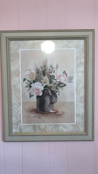 white and pink flower painting with brown wooden frame King Of Prussia, 19406