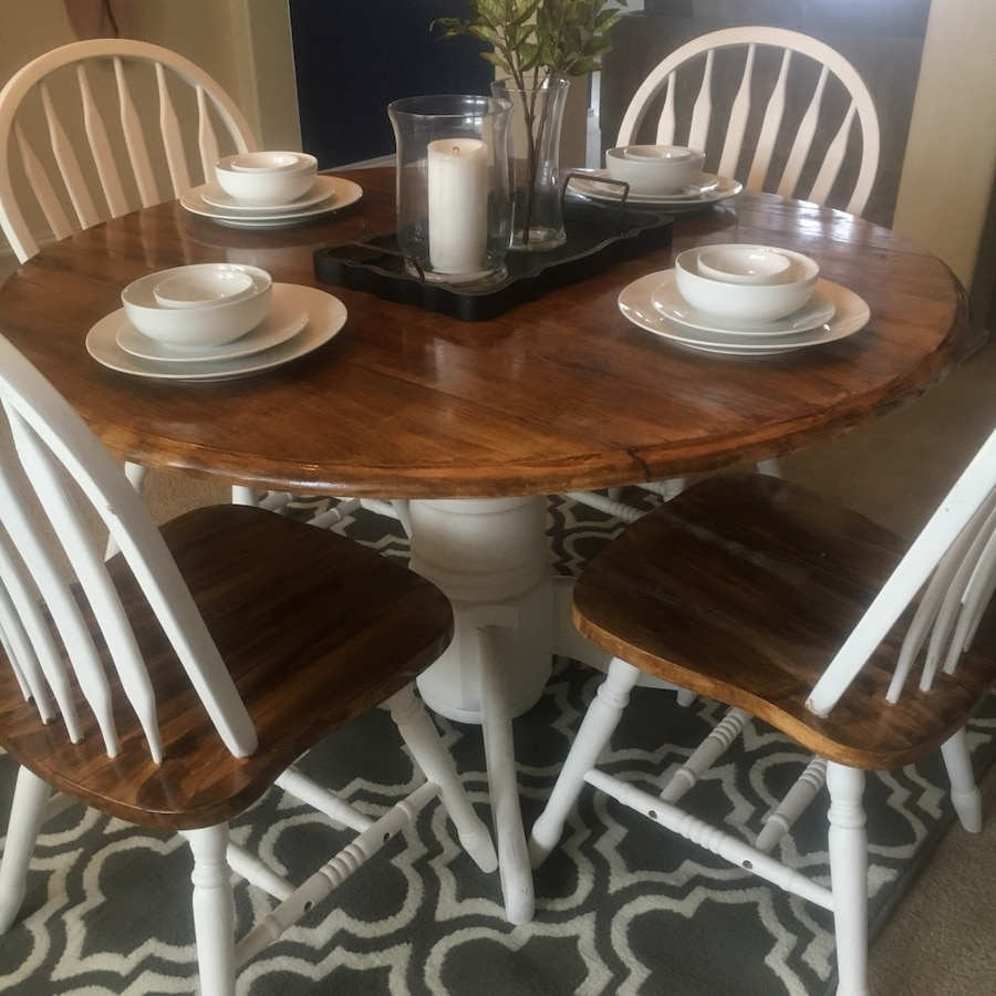 White And Brown Dining Table: Used White And Brown Wooden Pedestal Table With Windsor