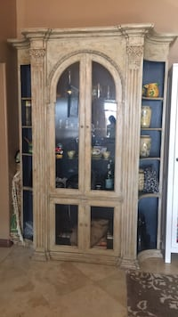 brown wooden framed glass display cabinet Los Angeles, 91352