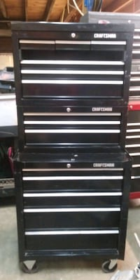 black and gray Craftsman tool chest Erin, 14838