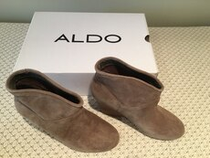 ALDO, size 8, brand new brown suede wedge booties