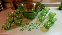 Green Carnival Glass Fruit Punch Bowl and Cups Niagara Falls