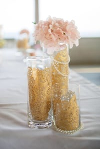 Vintage Glass and gold  vases with flowers decor