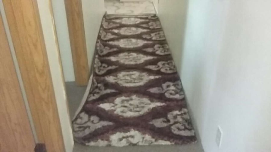 white and brown printed hallway rug 97b64c16-4bce-42d4-a498-8559f5dea668