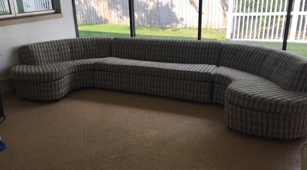 Mcm sectional sleeper sofa couch mid century modern retro plaid Castro  convertible