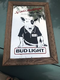 Bud Light pub mirror with brown wooden frame Riverside, 92507