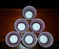 Brand new frosted pink tealight holder with 6 votive candle holders. Clinton, 01510