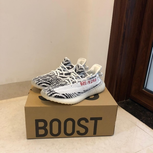 bc331215a Used pair of zebra Adidas Yeezy Boost 350 V2 on box for sale in ...