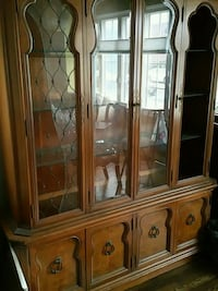 brown wooden framed glass china cabinet Brooklyn, 11236