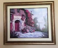"""Brown wooden framed painting of house L31 1/2""""x W37 1/2"""" Streamwood"""