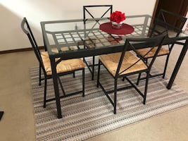 Dining table great deal! With 4 chairs and rug