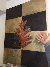white, black and brown leaf painting