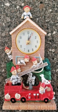 Teddy Bears Fire Station Clock with Pendulum