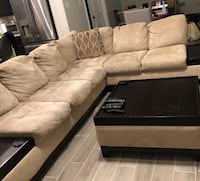 brown suede sectional sofa with throw pillows Richmond, 77407