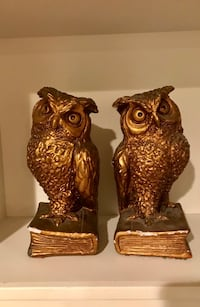 Vintage owl bookends 1963 Universal Statuary Corp, Chicago Gold black tones Calgary, T2W 3T9