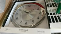 silver and white Mainstays wall clock with box Boyds, 20841