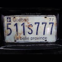 Quebec Canada 1977 Licence Plate Hanover